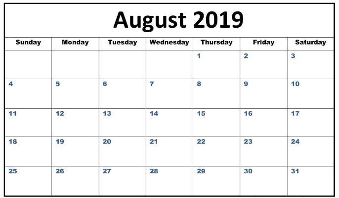 Editable Calendar August 2019