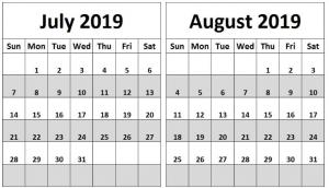 Editable July August 2019 Calendar