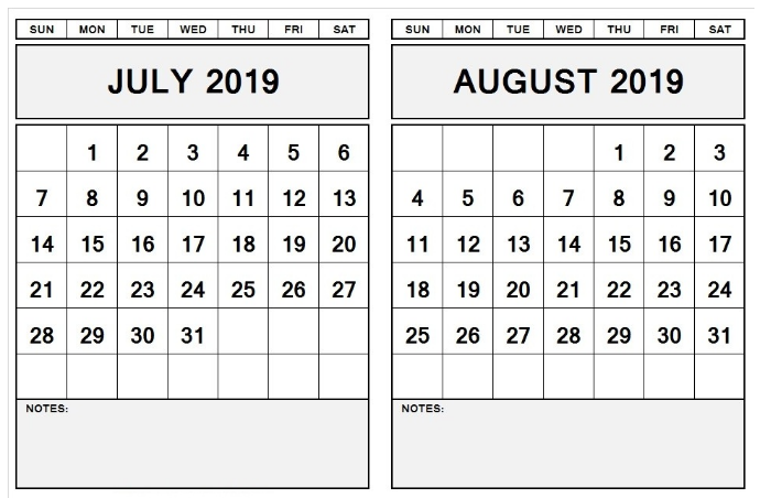 Excel July August 2019 Calendar