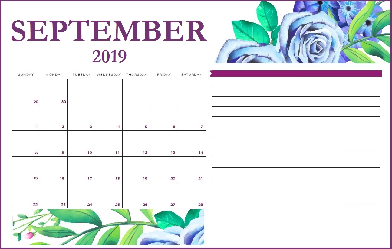 Floral September 2019 Printable Calendar