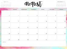 Free August 2019 Printable Calendar