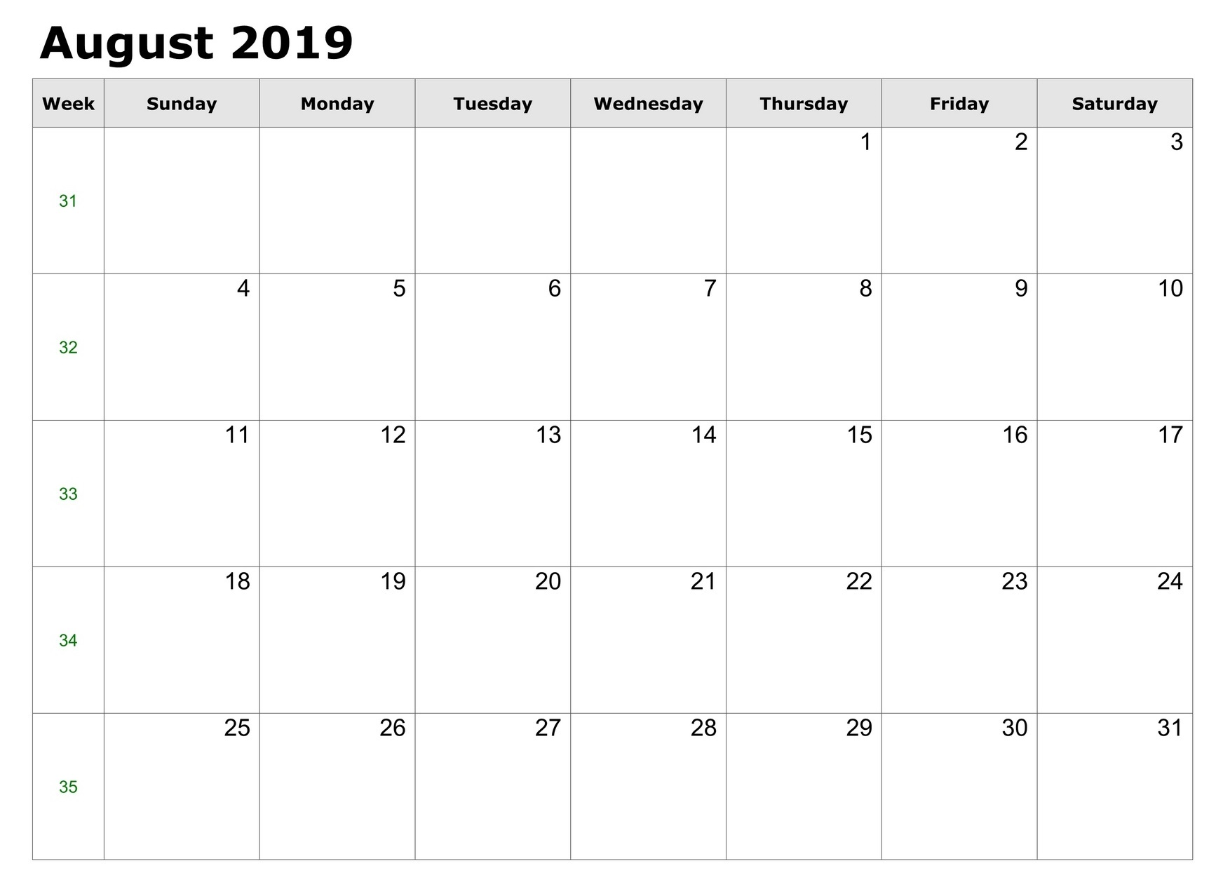Free Printable August 2019 Calendar Template