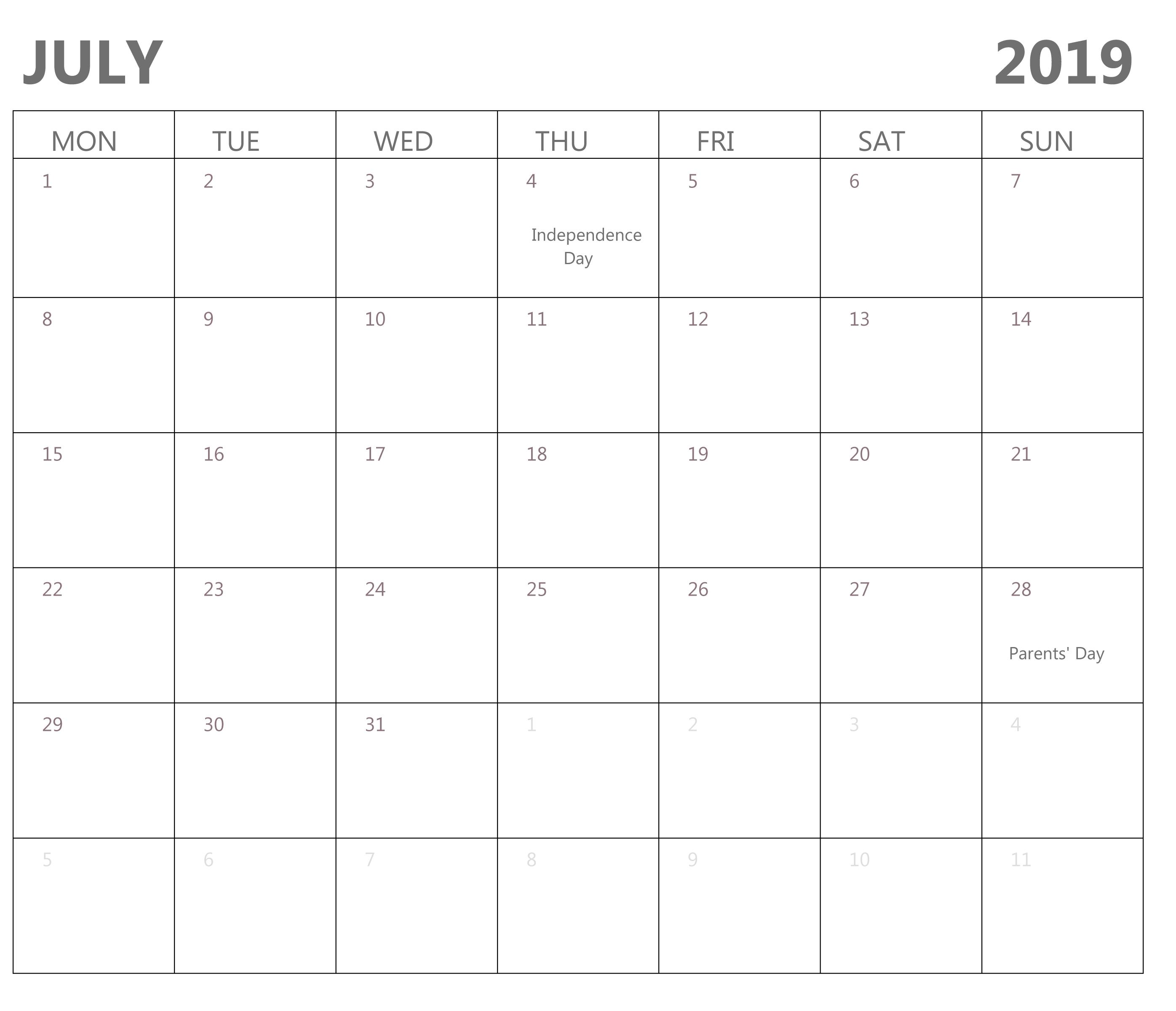 Free Printable Blank Calendar July 2019