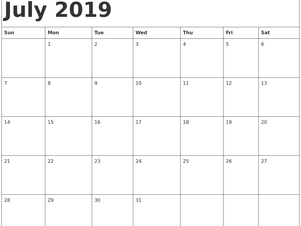 image relating to Printable July Calendar named No cost Printable July 2019 Calendar Template - Cost-free Printable