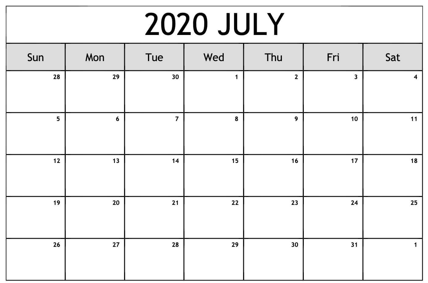 Free Printable July 2020 Calendar Template