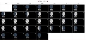 Full Moon Calendar July 2019