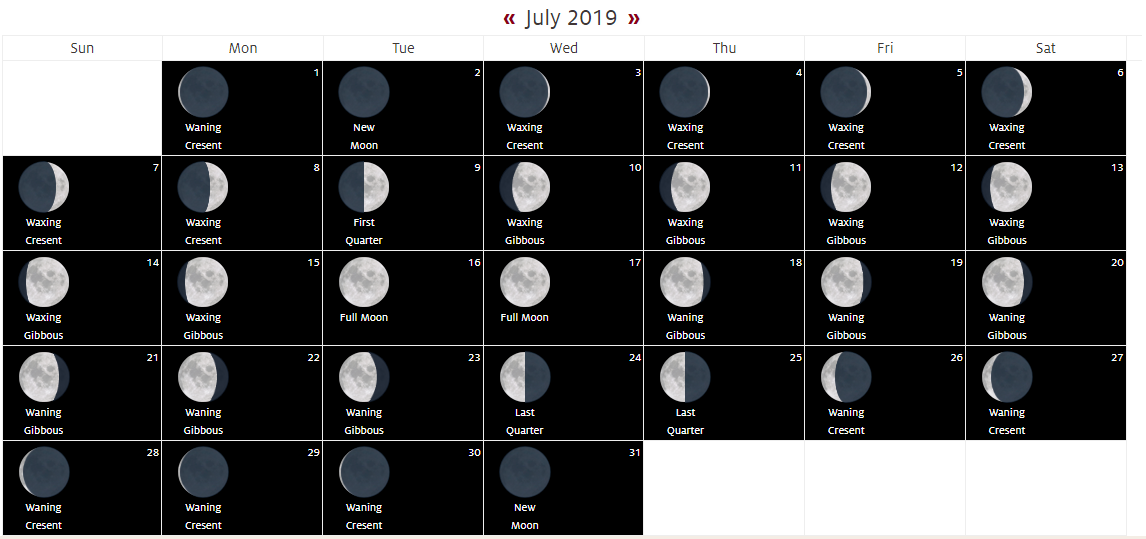 Full Moon Calendar July 2019