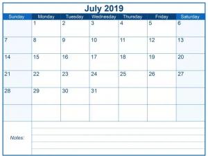 July 2019 Calendar Blank