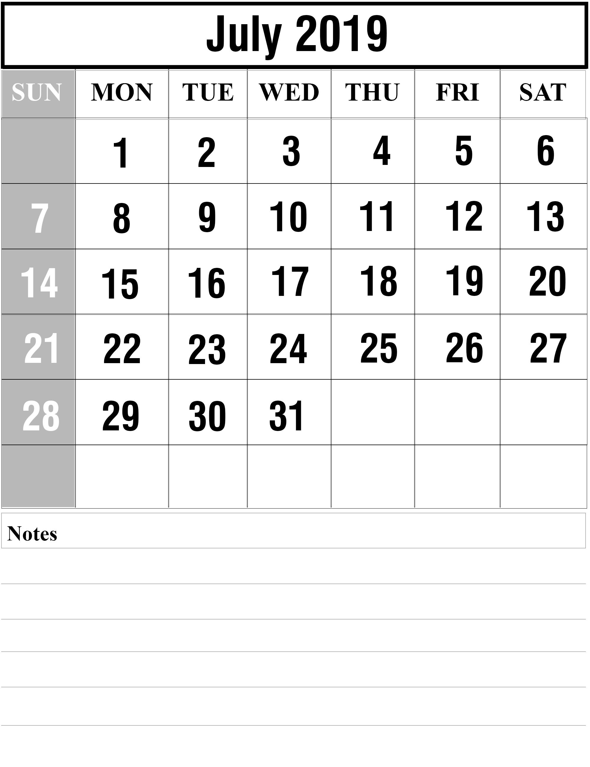July 2019 Calendar Blank Template