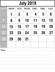 July 2019 Calendar Portrait Page