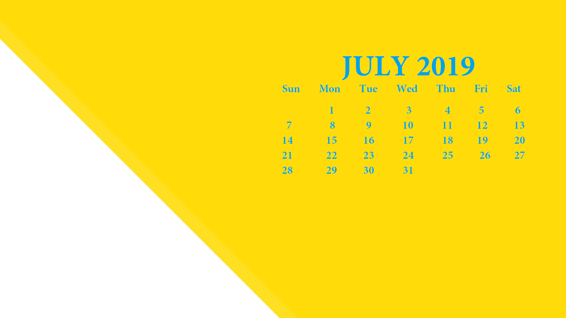 July 2019 Desktop Calendar HD Wallpaper