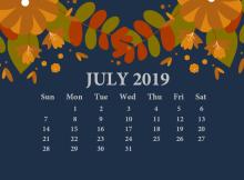 July 2019 Desktop Calendar With Wallpaper