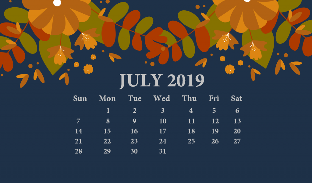 July 2019 Desktop Calendar With Wallpaper