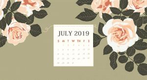 July 2019 Floral Calendar HD Wallpaper