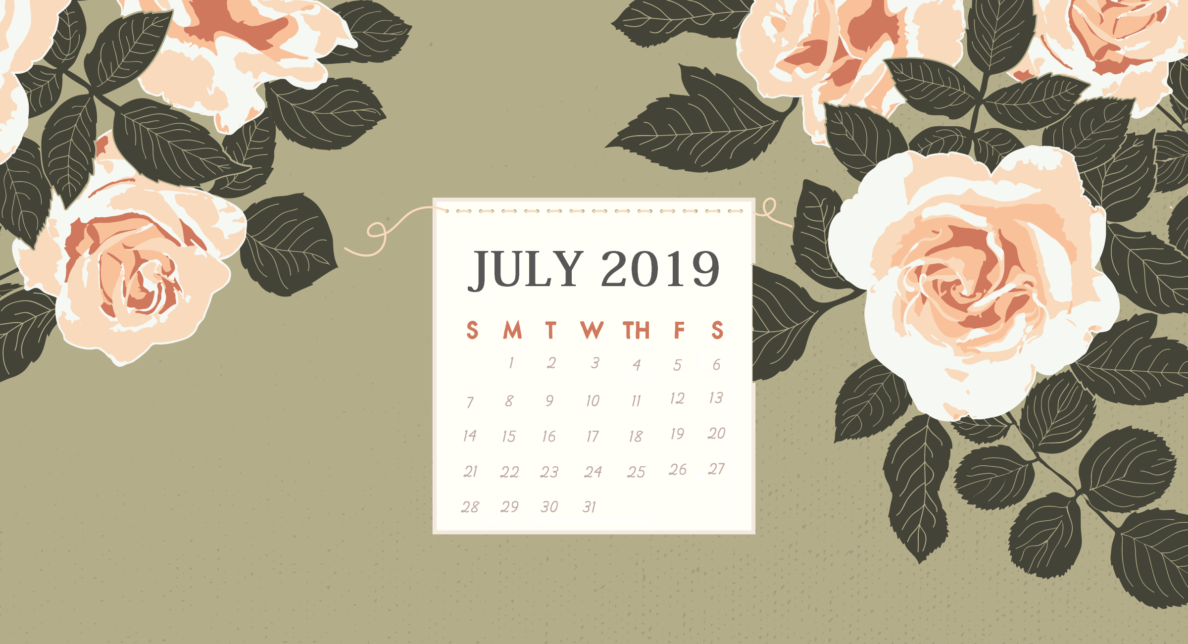July 2019 Floral Calendar HD Wallpaper