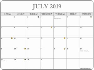 July 2019 Moon Calendar Template