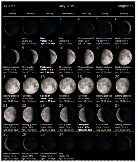 July 2019 Moon Phases Calendar