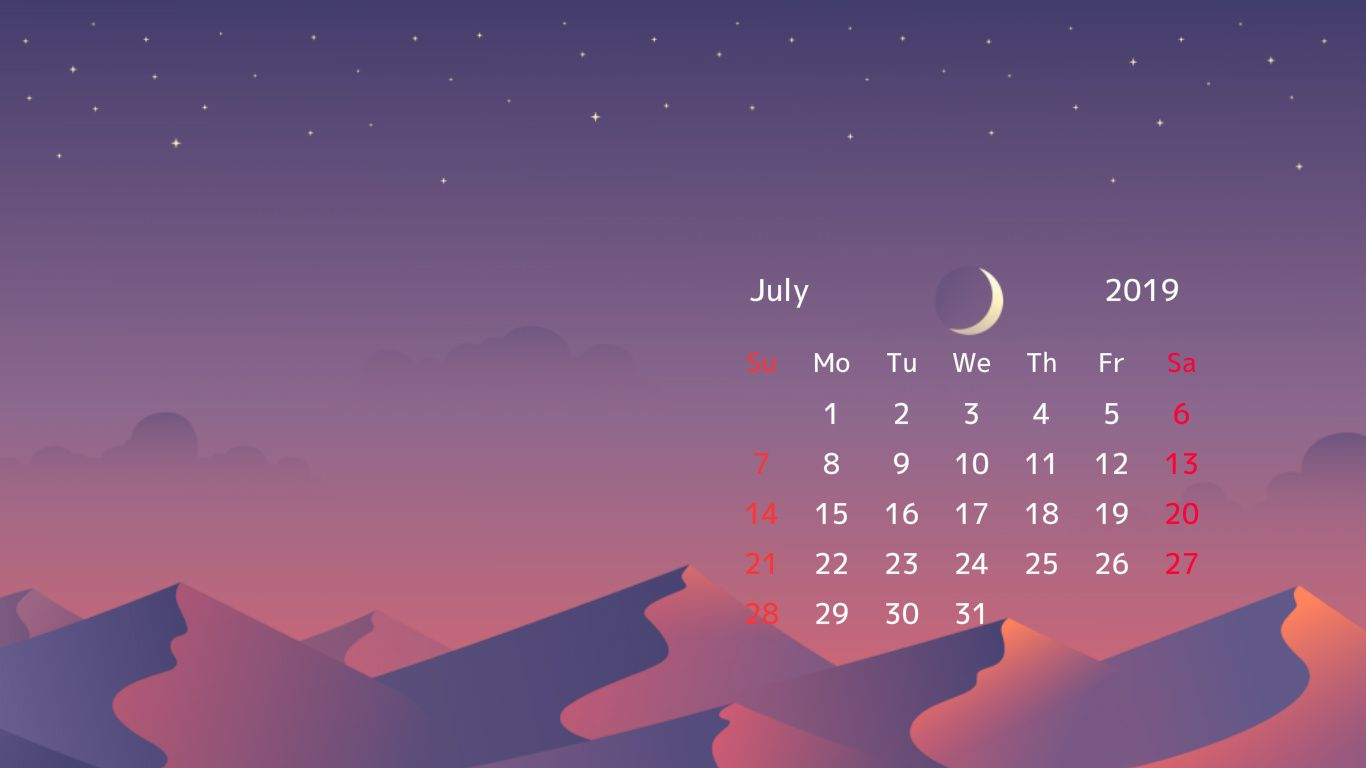July 2019 Screensaver Background