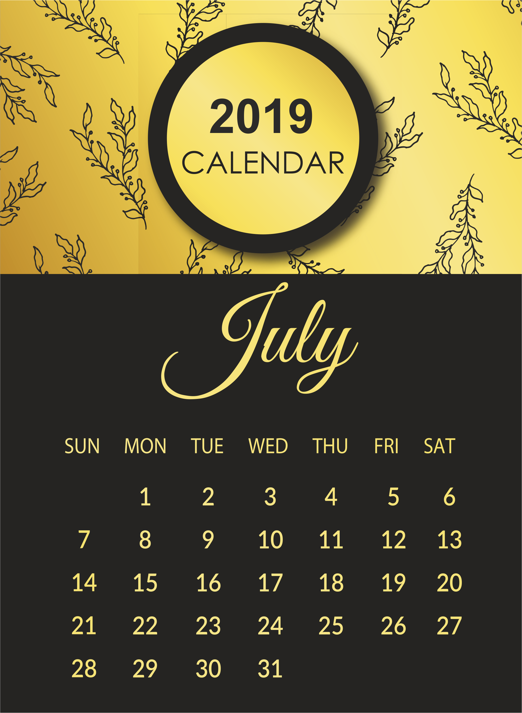 July 2019 Wall Calendar Template