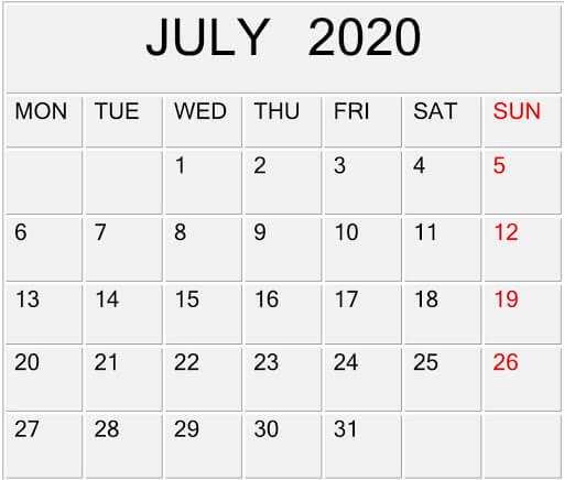 July 2020 Calendar Template Editable