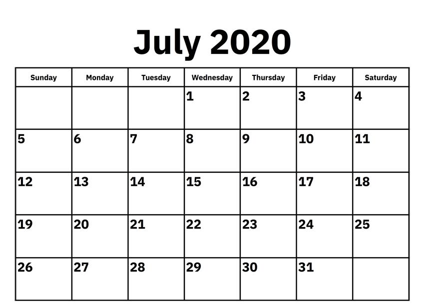 July 2020 Calendar Template Printable