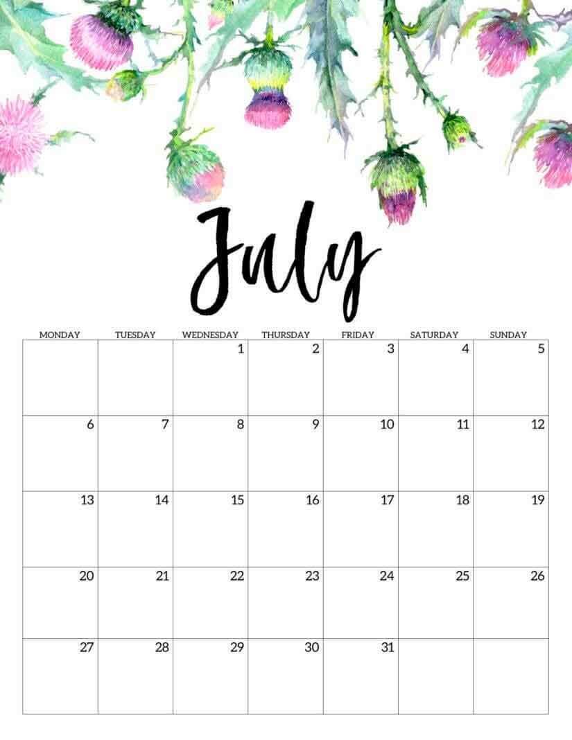 July 2020 Floral Calendar Template