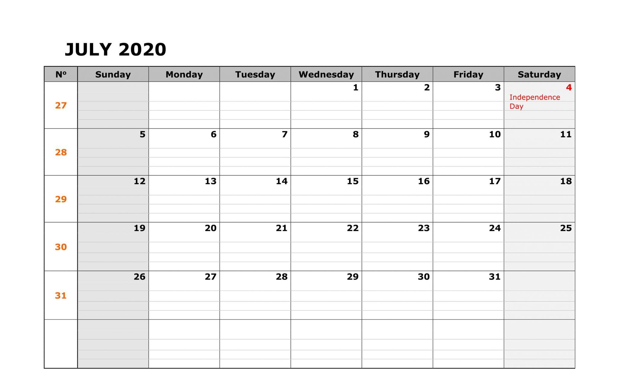 July 2020 Holidays Calendar Template