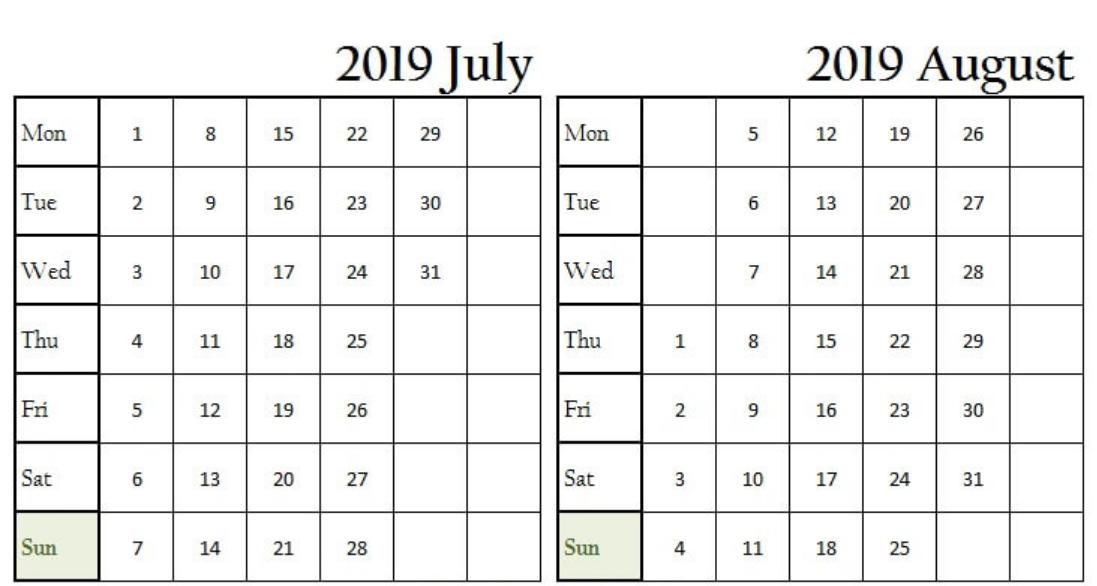 July August 2019 Blank Calendar