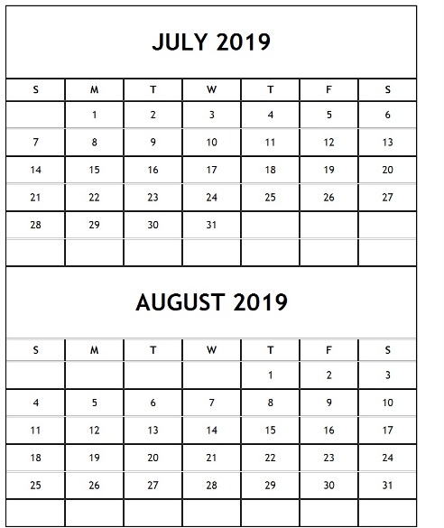 July August 2019 Calendar Page