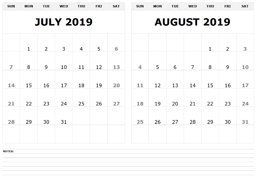 July August 2019 Calendar Template