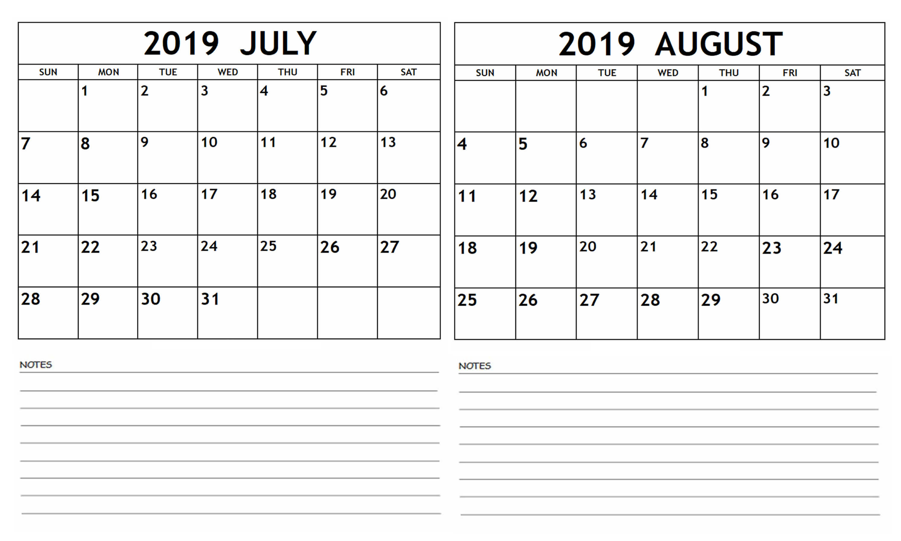 July August 2019 Calendar With Notes