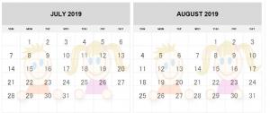 July August 2019 Calendar for Kids