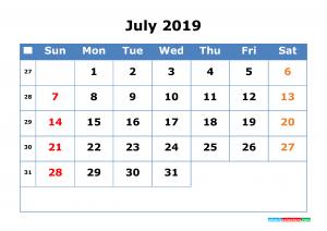 July Calendar 2019 Cute