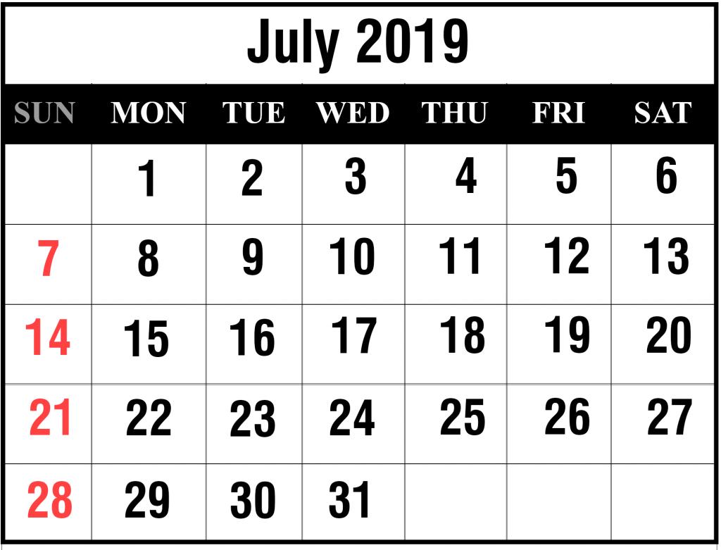 July Calendar 2019 PDF