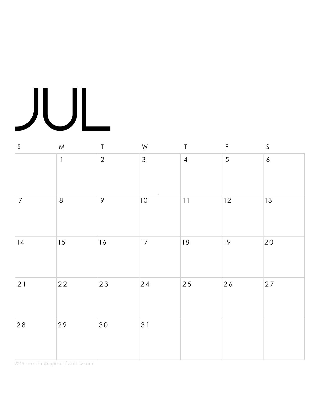 July Calendar 2019 Template