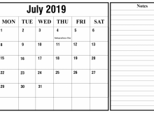 July Calendar 2019 with Holidays