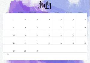 July Desk Calendar 2019