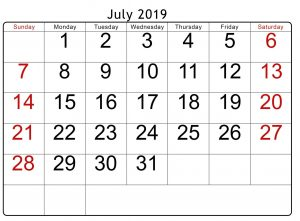 Online Calendar for July 2019