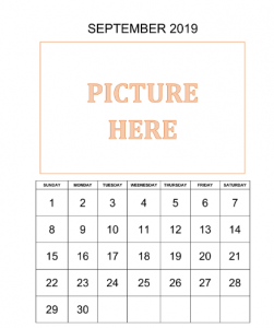 Personalized September Printable Calendar 2019