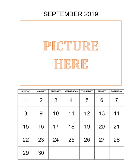 Personalized September Printable Calendar 2019