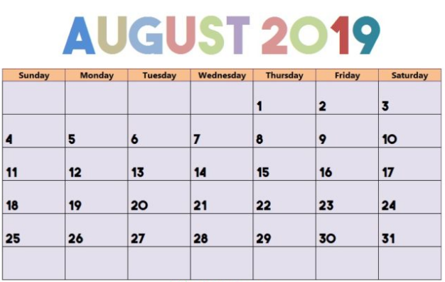 August 2019 Calendar With Holidays.Printable August 2019 Calendar Cute Free Printable Calendar