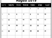 Printable August 2019 Calendar Word