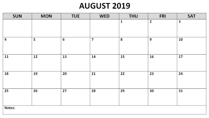 Printable August 2019 Editable Calendar