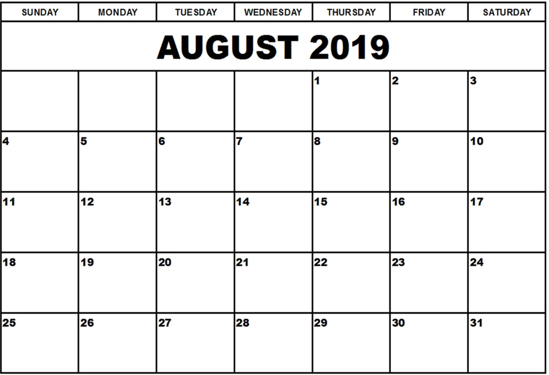 Printable Blank August Calendar 2019 Editable