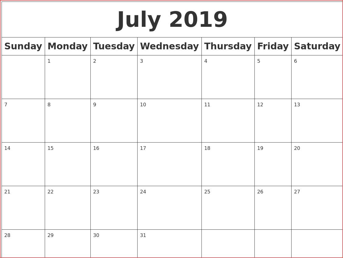 Printable Blank Calendar July 2019