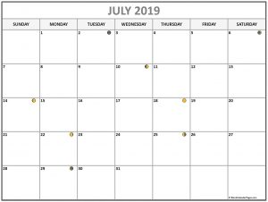 Printable July 2019 Moon Calendar