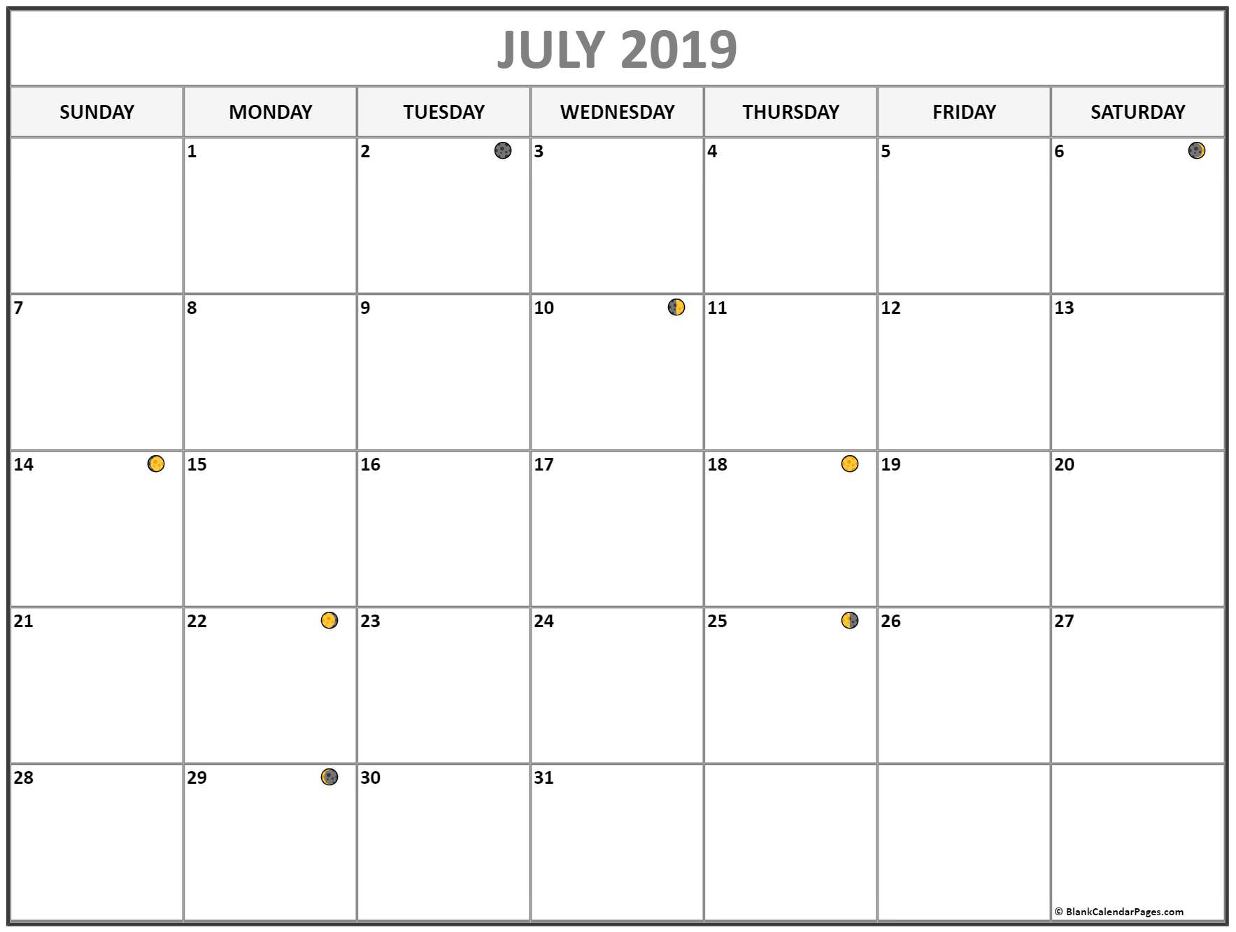 graphic regarding Printable July Calendar known as Printable July 2019 Moon Calendar - Absolutely free Printable Calendar