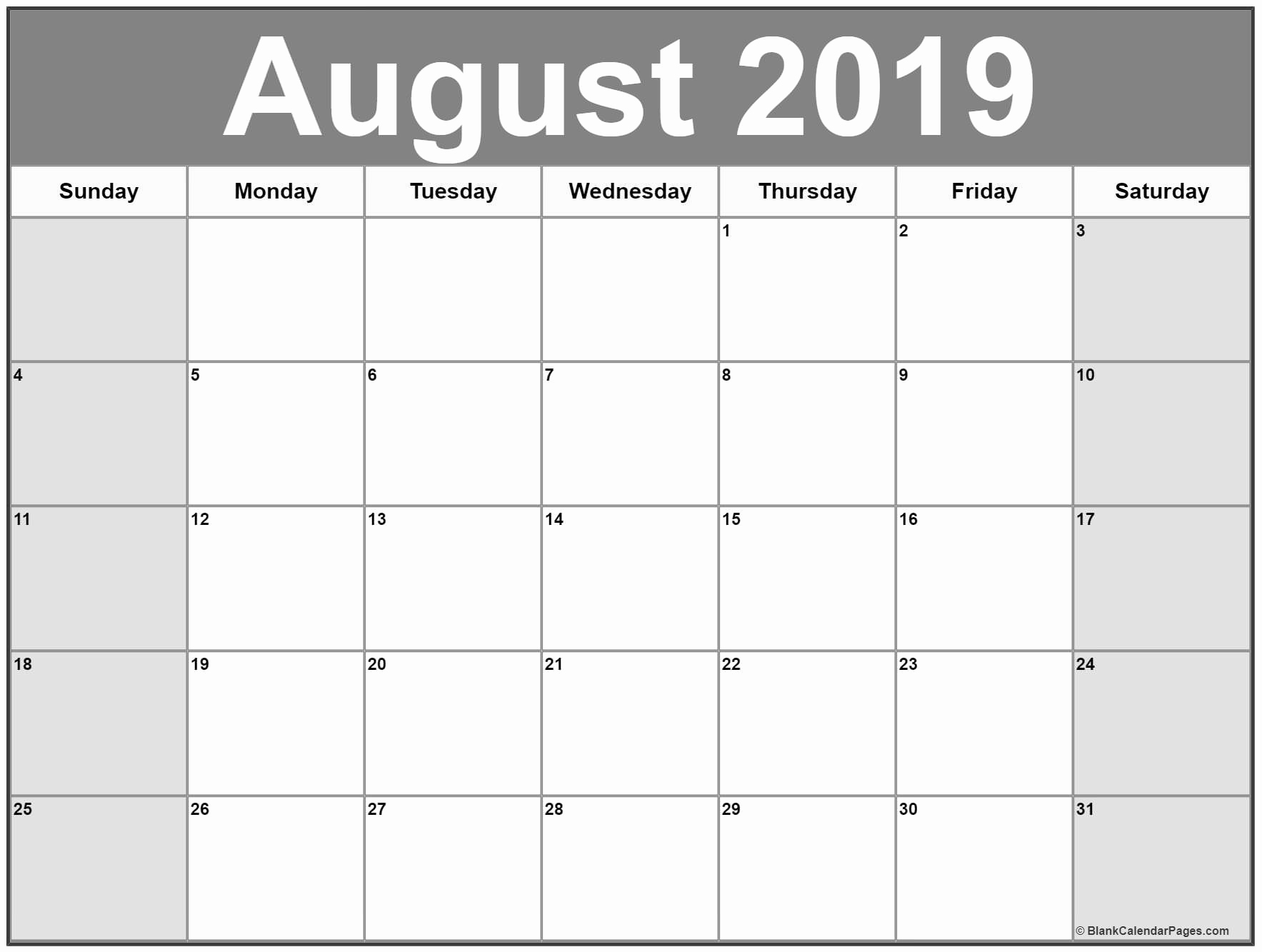 Printable Monthly Calendar August 2019