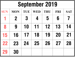 Printable Monthly Calendar September 2019