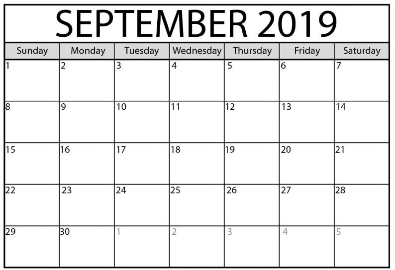 September 2019 Blank Printable Calendar